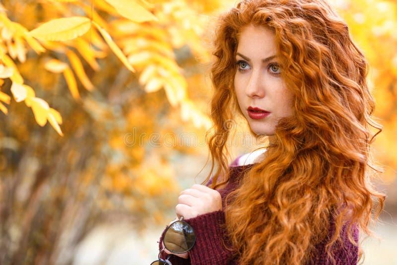 Ritratto della donna dai capelli rossi con le foglie gialle, umore di autunno fotografia stock