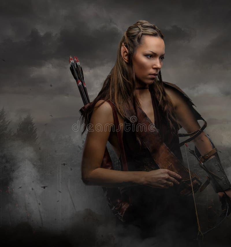 Ritratto della donna dell'elfo con la ciotola fotografie stock
