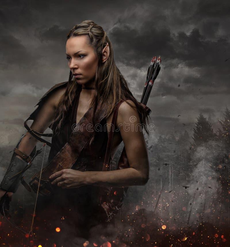 Ritratto della donna dell'elfo con la ciotola immagini stock libere da diritti