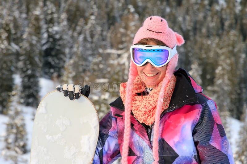 Ritratto della donna dello snowboard immagine stock
