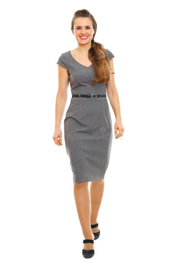 Ritratto della donna di affari che fa primo punto fotografie stock