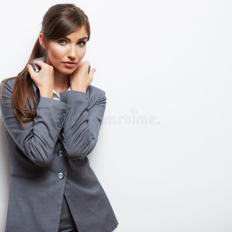 Ritratto della donna di affari isolato su bianco fotografia stock