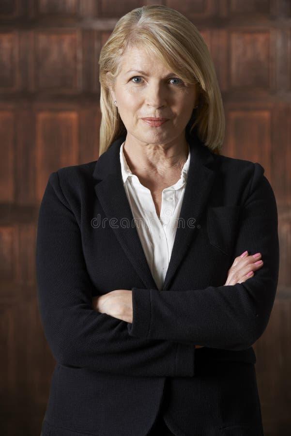 Ritratto della donna di affari matura In Boardroom immagine stock libera da diritti