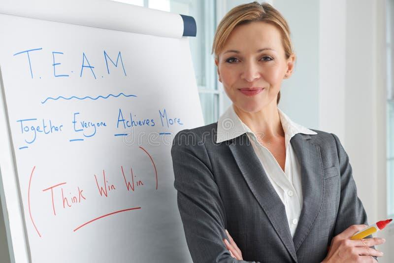 Ritratto della donna di affari Standing By Flipchart fotografia stock libera da diritti