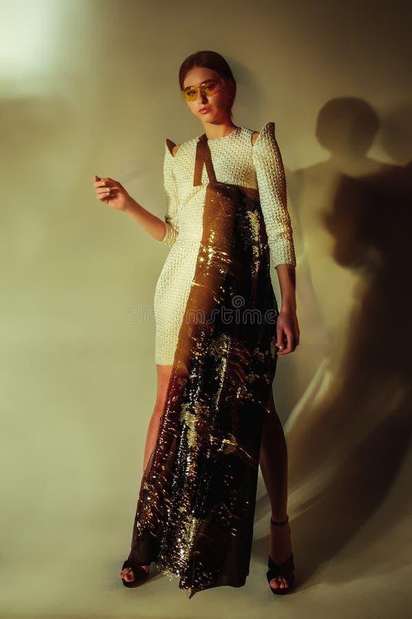 Ritratto della donna di modo Bello modello fotografia stock