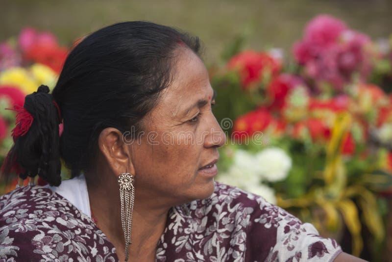 Ritratto della donna di Tharu, Nepal fotografia stock