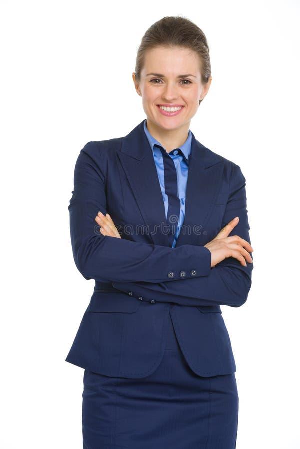 Ritratto della donna felice di affari immagine stock