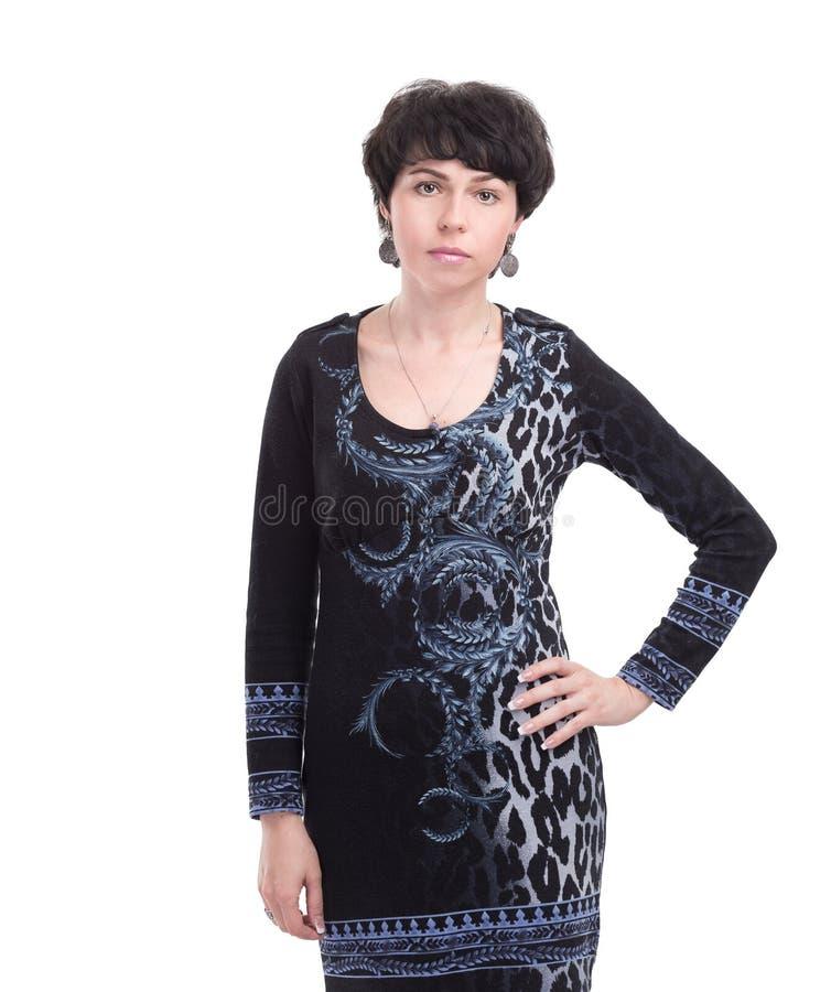 Ritratto della donna moderna di affari isolata su bianco immagini stock libere da diritti