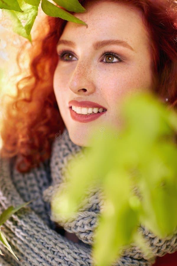 Ritratto della donna naturale della testarossa di bellezza fotografia stock