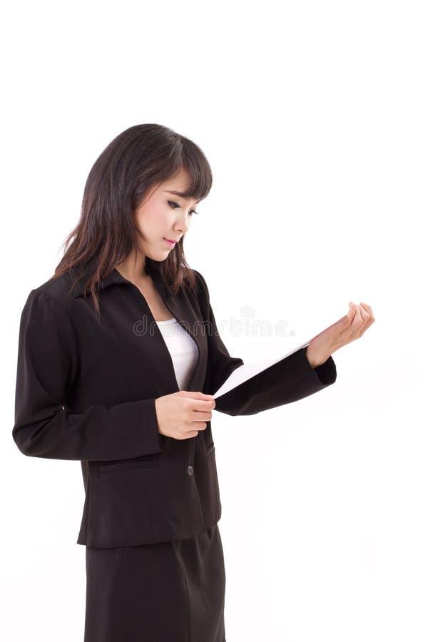 ritratto della donna professionale asiatica felice, calma, fresca, sicura di affari fotografie stock