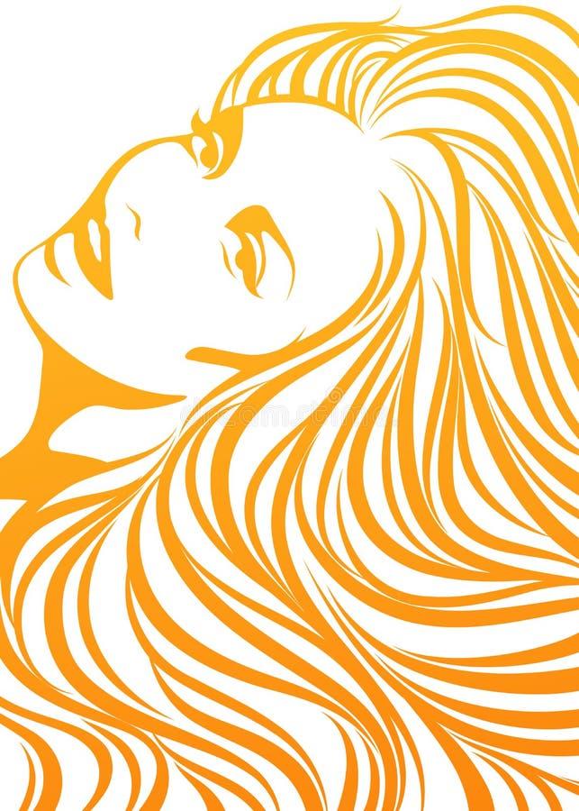 Ritratto della donna sexy sorridente nel colore giallo. illustrazione di stock