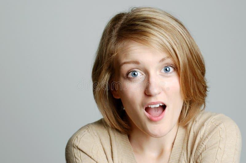 Ritratto della donna sorpresa immagine stock libera da diritti