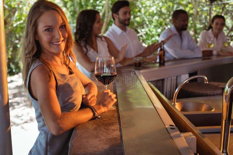 Ritratto della donna sorridente che mangia un vetro di vino rosso al contatore fotografie stock