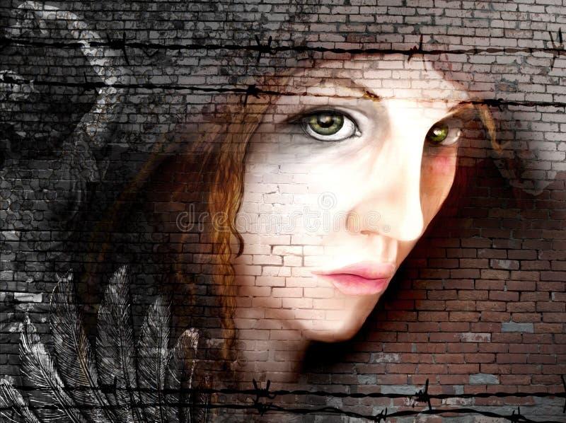 Ritratto della donna sui mattoni illustrazione vettoriale