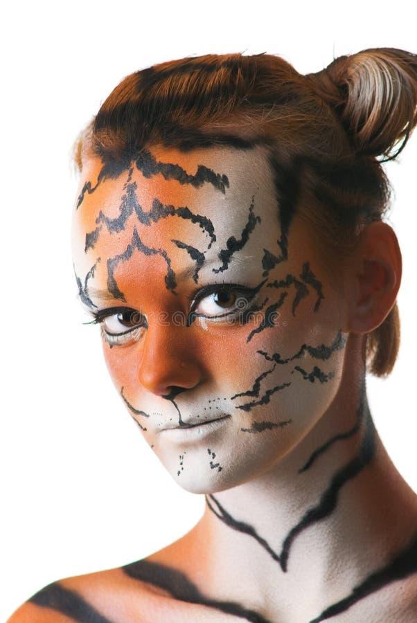 Ritratto della donna-tigre fotografia stock libera da diritti