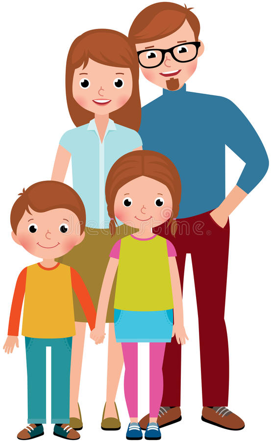 Ritratto della famiglia dei genitori ed i loro bambini, figlio e figlia illustrazione vettoriale