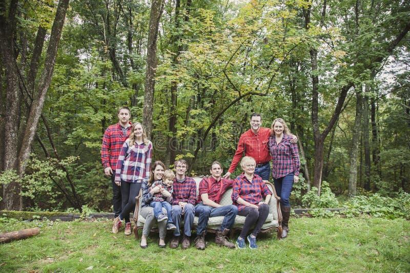 Ritratto della famiglia di quattro generazioni fotografie stock