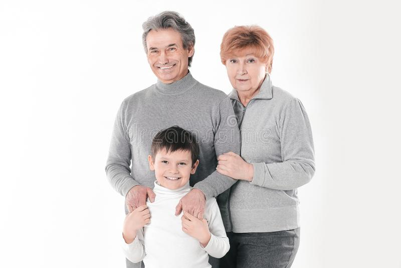 Ritratto della famiglia su bianco Foto con lo spazio della copia fotografia stock