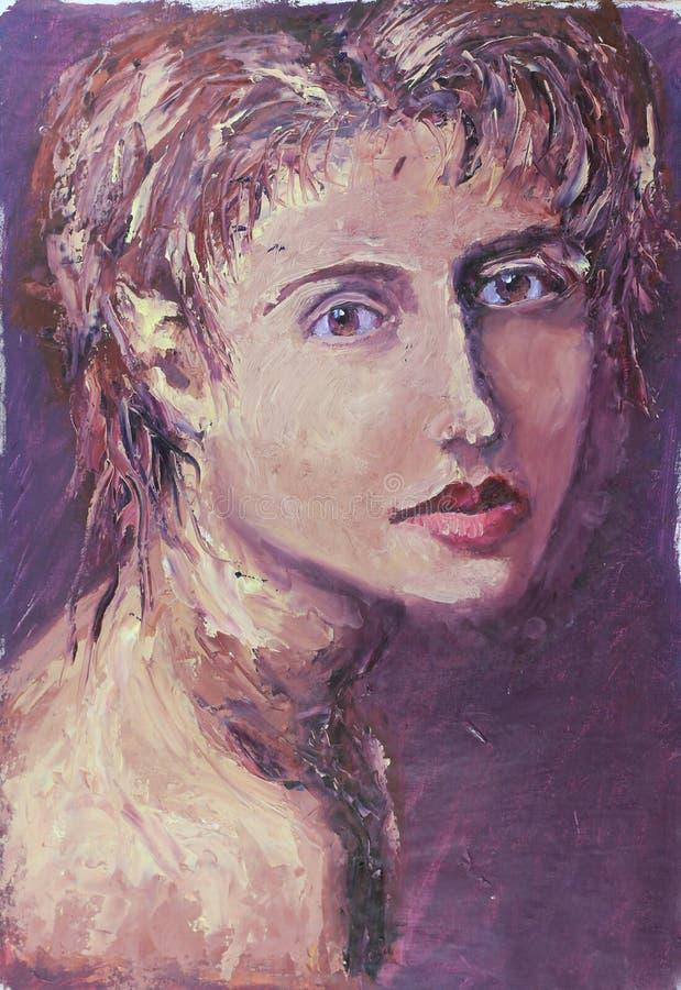 Ritratto della gente di impressionismo della pittura su fondo scuro astratto fotografia stock