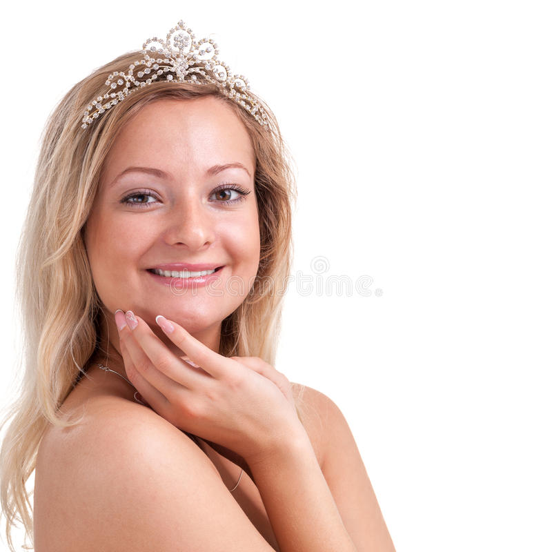 Ritratto della giovane donna adorabile con il diadema fotografia stock