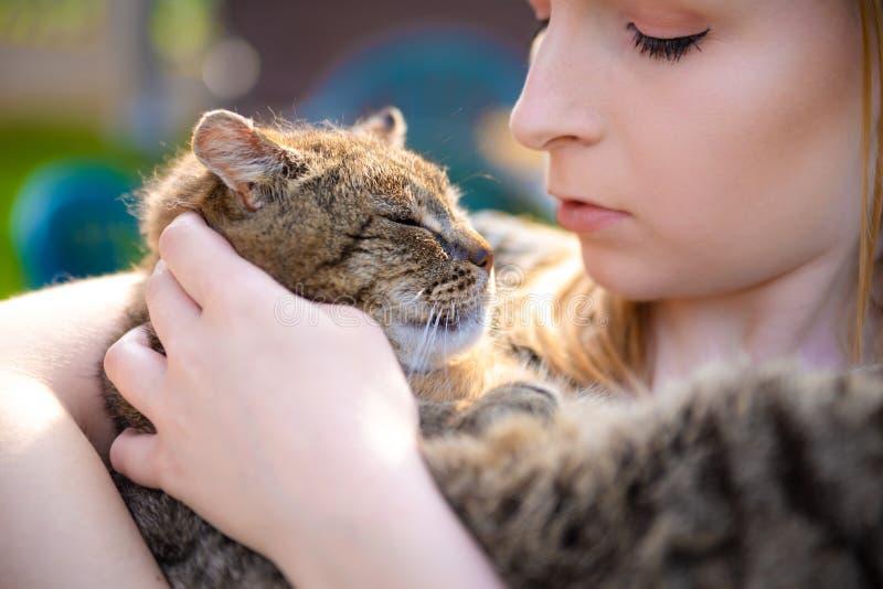 Ritratto della giovane donna che tiene un gatto nelle sue armi Abbastanza signora che tiene poco gattino dolce e adorabile immagine stock