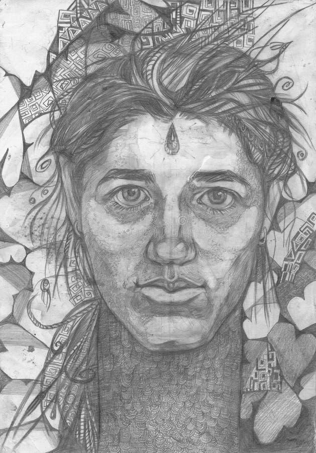 Ritratto della giovane donna con il fondo riccio della verdura del hairon illustrazione vettoriale