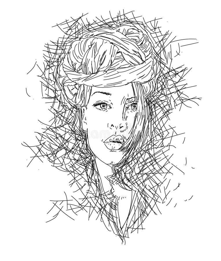 Ritratto della giovane donna con la linea porcellana del turbante di arte royalty illustrazione gratis