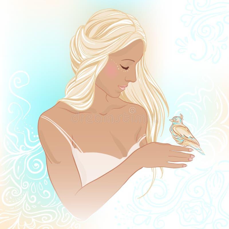 Ritratto della giovane donna graziosa con un uccello nella mano Bella illustrazione di vettore illustrazione vettoriale