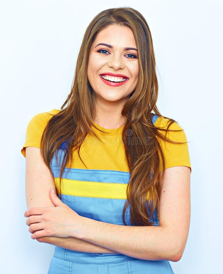 Ritratto della giovane donna isolato Uniforme delle tute fotografia stock