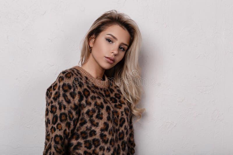 Ritratto della giovane donna sveglia adorabile con i bei occhi con trucco naturale con le labbra in un maglione alla moda del leo immagini stock libere da diritti