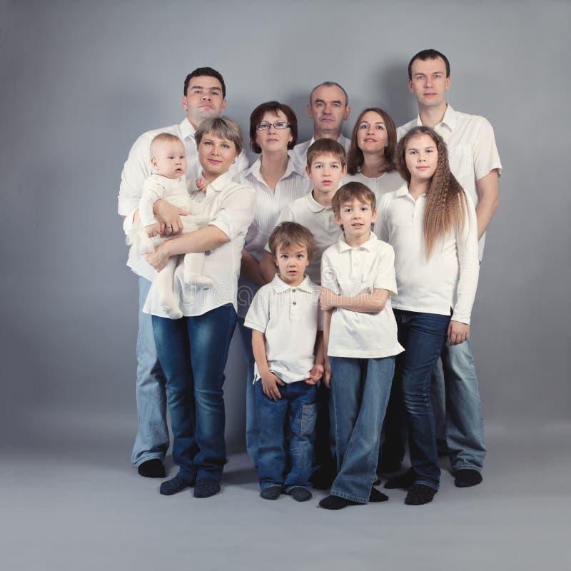 Ritratto della grande famiglia, studio immagini stock libere da diritti