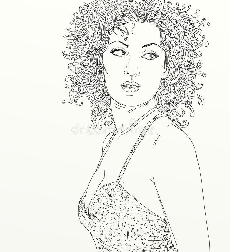 Ritratto della linea schermo della ragazza di arte royalty illustrazione gratis