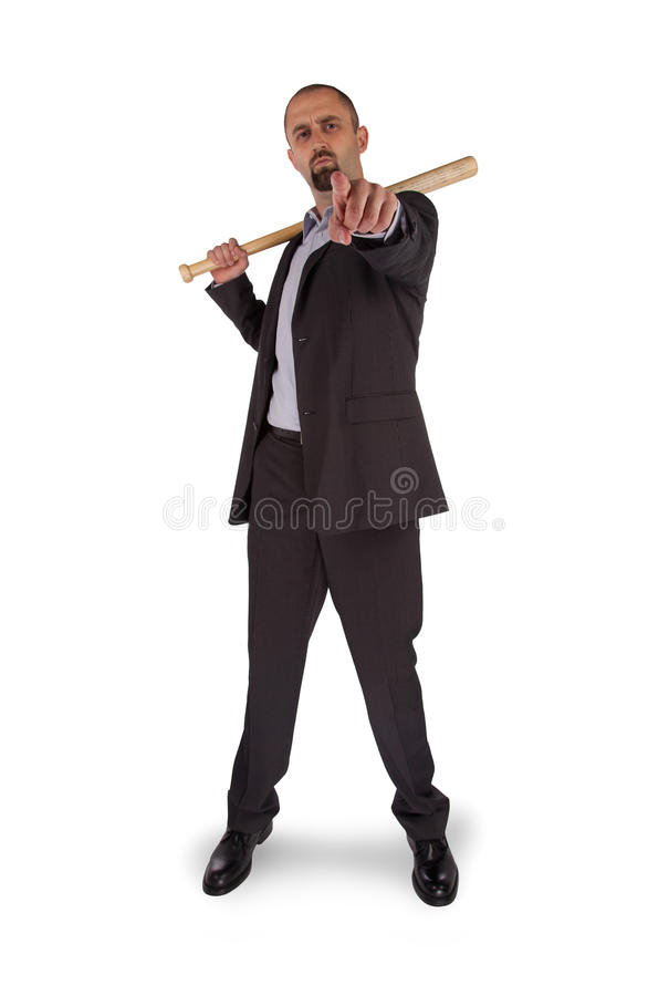Ritratto della mazza da baseball arrabbiata della tenuta dell'uomo d'affari fotografie stock