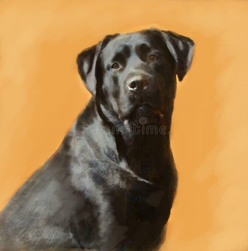 Ritratto della pittura a olio del maschio nero di labrador immagine stock libera da diritti