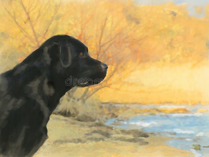 Ritratto della pittura a olio di labrador nero in autunno fotografia stock