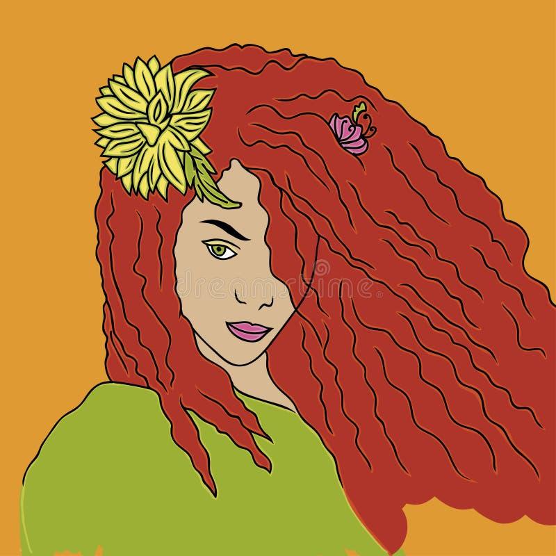 Ritratto della ragazza arrogante con capelli rossi illustrazione di stock