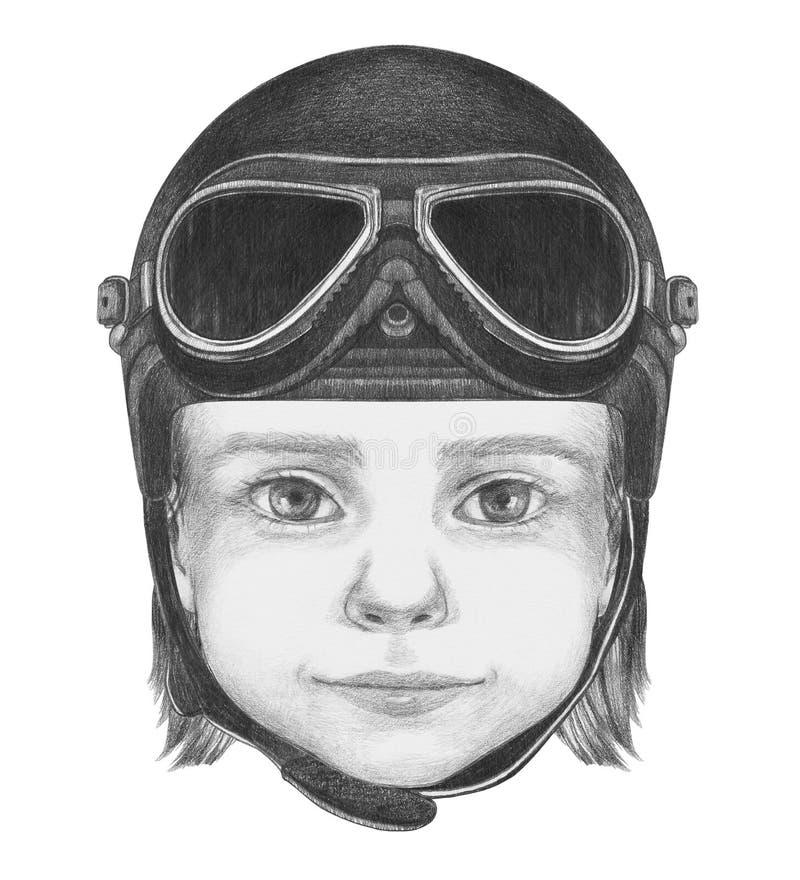 Ritratto della ragazza con il casco illustrazione di stock