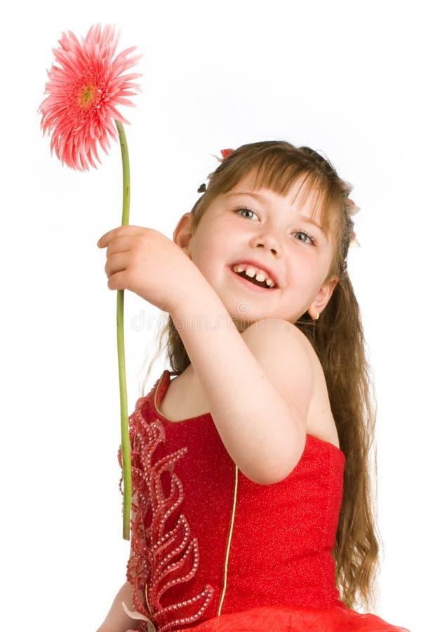Ritratto della ragazza con il fiore fotografia stock libera da diritti