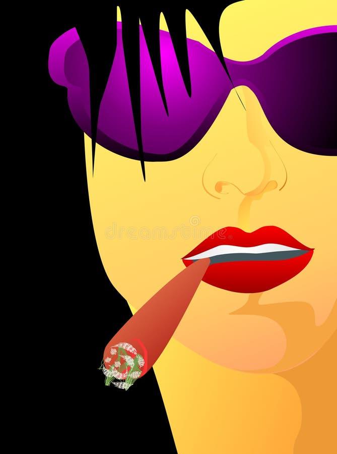 Ritratto della ragazza con il sigaro illustrazione vettoriale