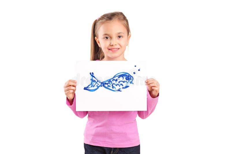 Ritratto della ragazza con l'illustrazione dei pesci immagine stock libera da diritti