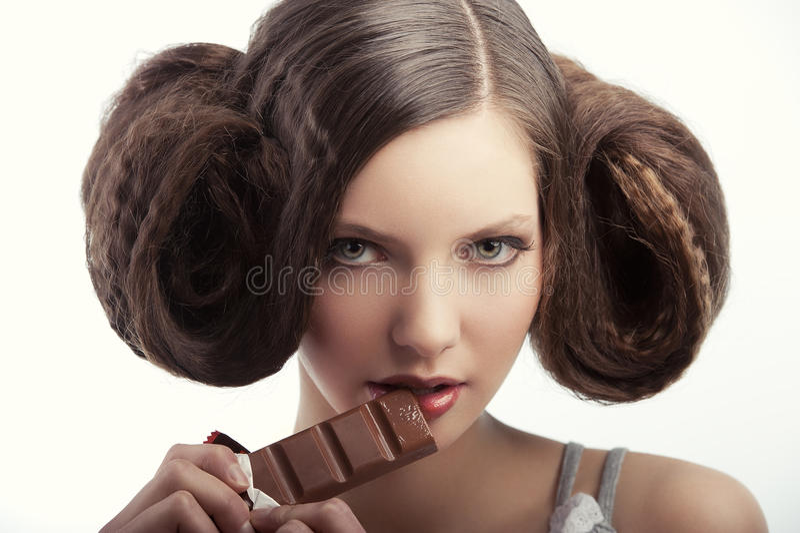 Ritratto della ragazza di stile dell'annata fotografia stock