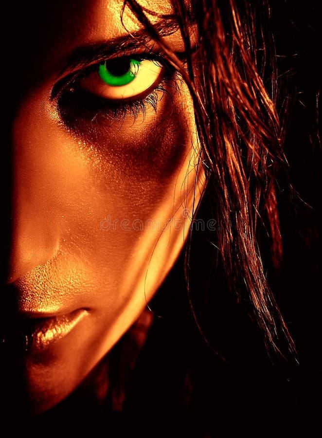 Ritratto della ragazza green-eyed selvaggia fotografia stock