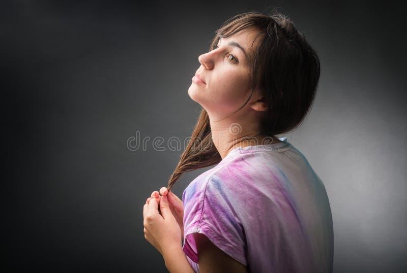 Ritratto della ragazza malinconica fotografia stock libera da diritti