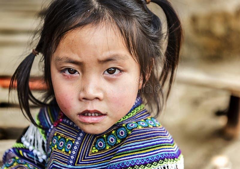 Ritratto della ragazza tribale di Hmong che porta vestito tradizionale, Sapa, Vietnam fotografia stock libera da diritti