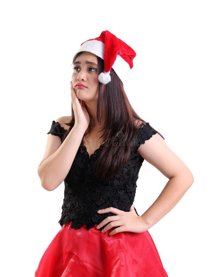 Ritratto della ragazza triste sul Natale fotografia stock libera da diritti