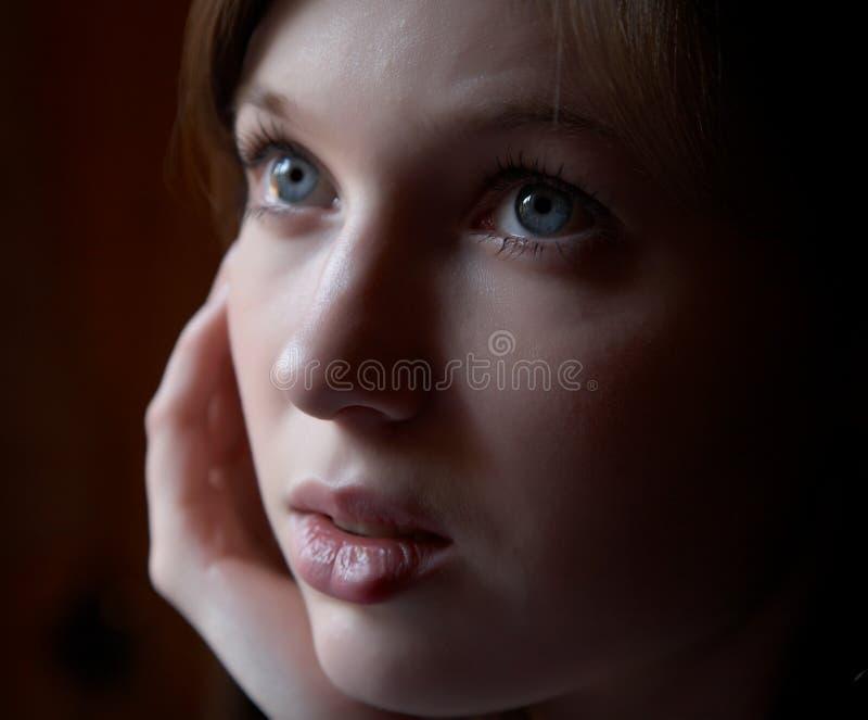 Ritratto della ragazza in una tonalità scura immagine stock