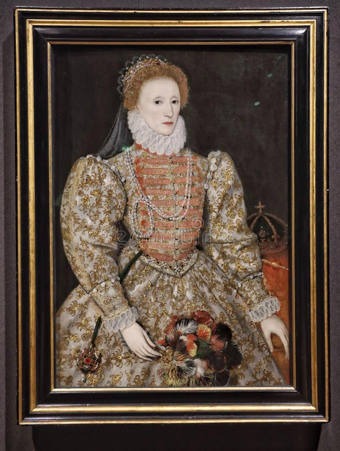 Ritratto della regina Elisabetta I, da un artista inglese del unkown immagini stock libere da diritti