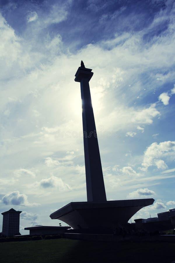 Ritratto della siluetta di Monas, Jakarta fotografie stock
