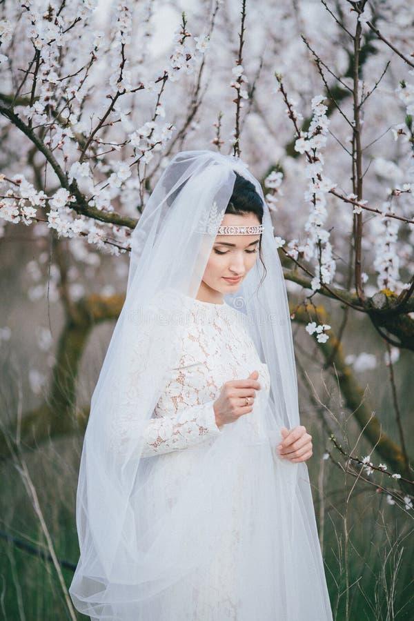 Ritratto della sposa in giardino di fioritura immagini stock