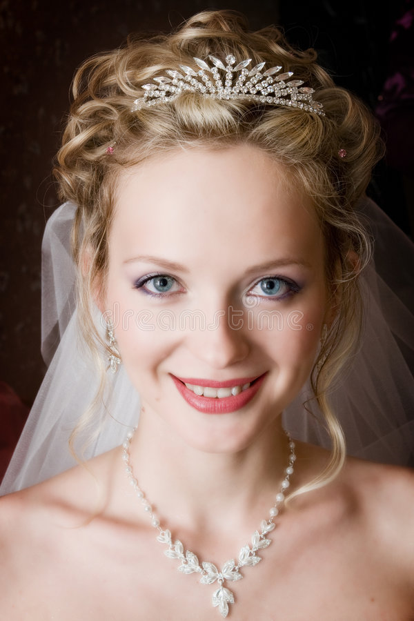 Ritratto della sposa su una priorità bassa scura immagine stock libera da diritti